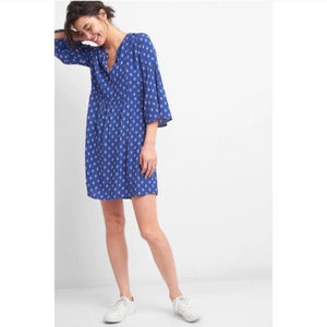 GAP Blue Bell Sleeve Dress with Pink Floral Print